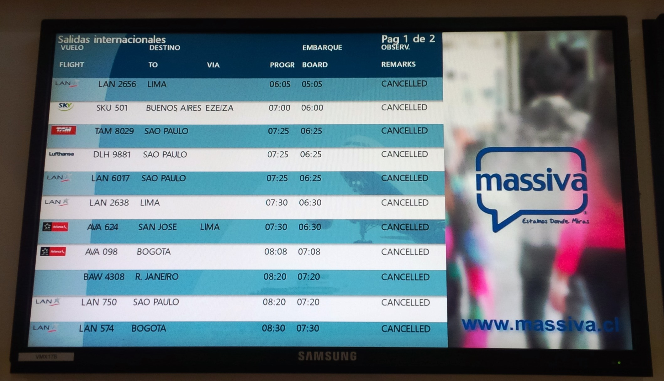 Flights cancelled as strike in Chile bites