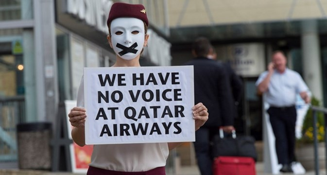 Qatar Airways silent protest at airline show