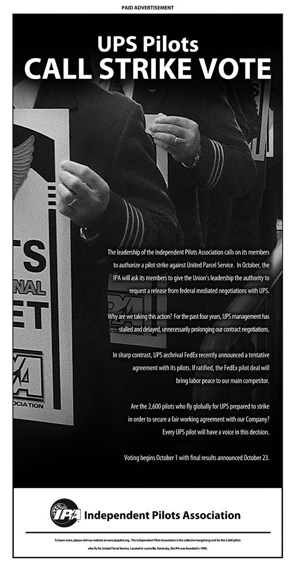 UPS pilots union calls for strike vote (ipapilot.org)