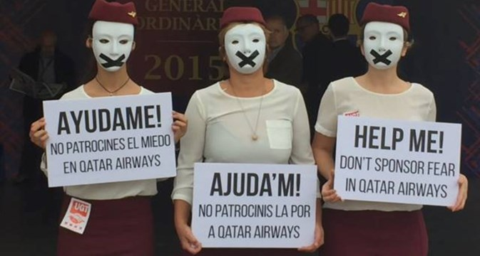 Qatar Airways protesters target FC Barcelona members meeting