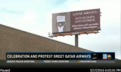 Qatar Airways greeted with protest in Atlanta