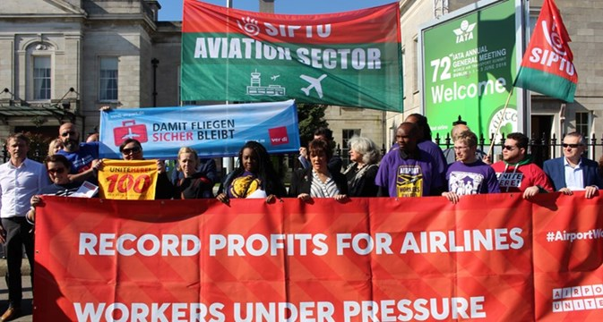 Airport workers' group launches with world protests